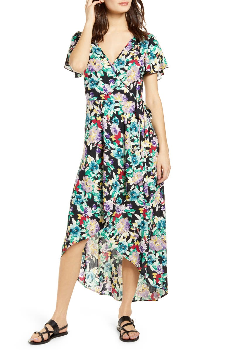 BAND OF GYPSIES Iris Wrap Dress, Main, color, 001