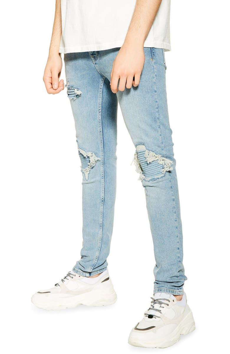 TOPMAN Biker Blowout Skinny Jeans, Main, color, BLUE