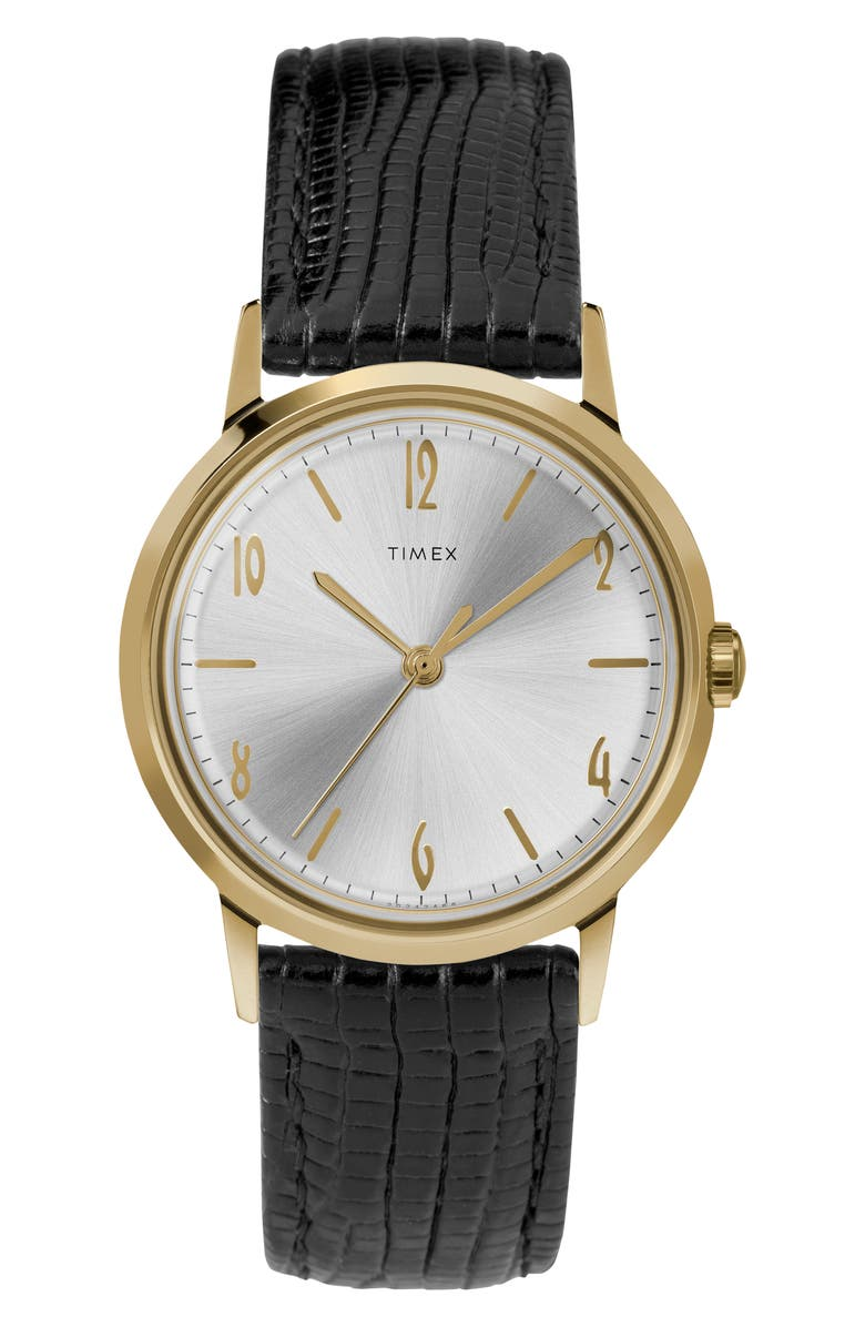 TIMEX<SUP>®</SUP> Marlin Leather Strap Watch, 34mm, Main, color, BLACK/ SILVER SUNRAY/ GOLD