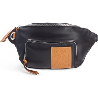 Loewe Puffy Leather & Canvas Belt Bag - Black