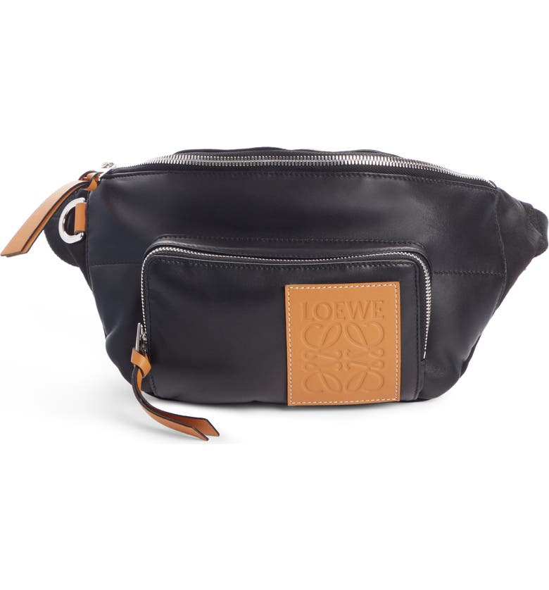 LOEWE Puffy Leather & Canvas Belt Bag, Main, color, BLACK