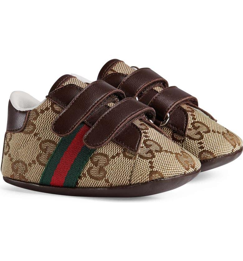 GUCCI Ace Crib Shoe, Main, color, BEIGE/ EBONY/ COCO