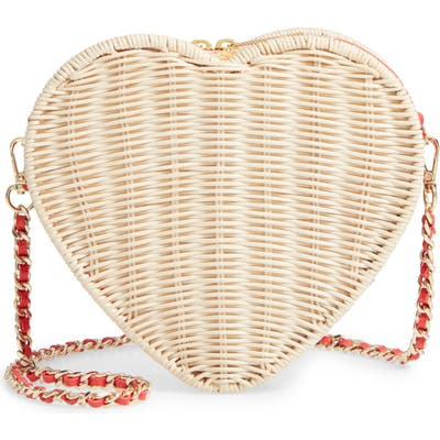 Ted Baker London Heart Wicker Crossbody Bag - Red