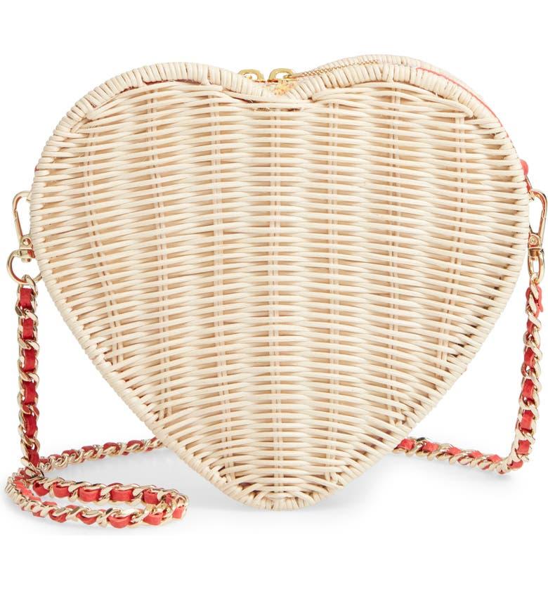 TED BAKER LONDON Heart Wicker Crossbody Bag, Main, color, 600