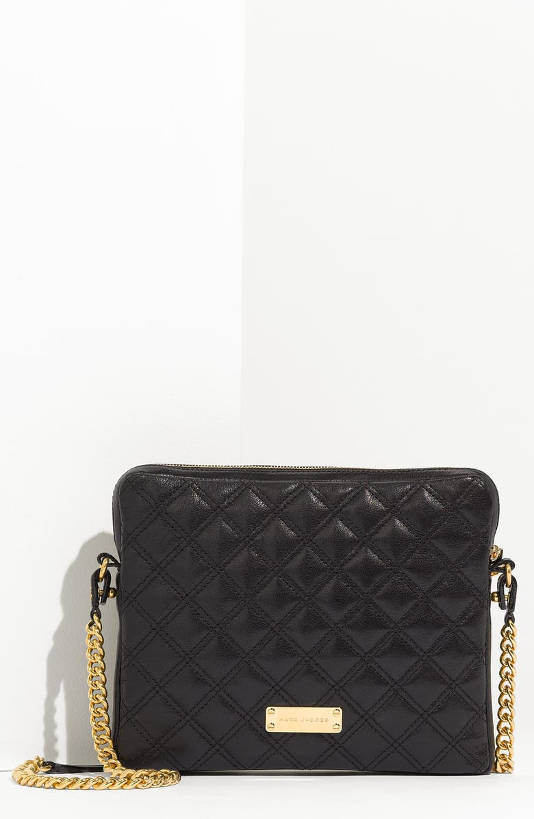 MARC JACOBS 'Quilting' Leather Crossbody iPad Case, Main, color, 001