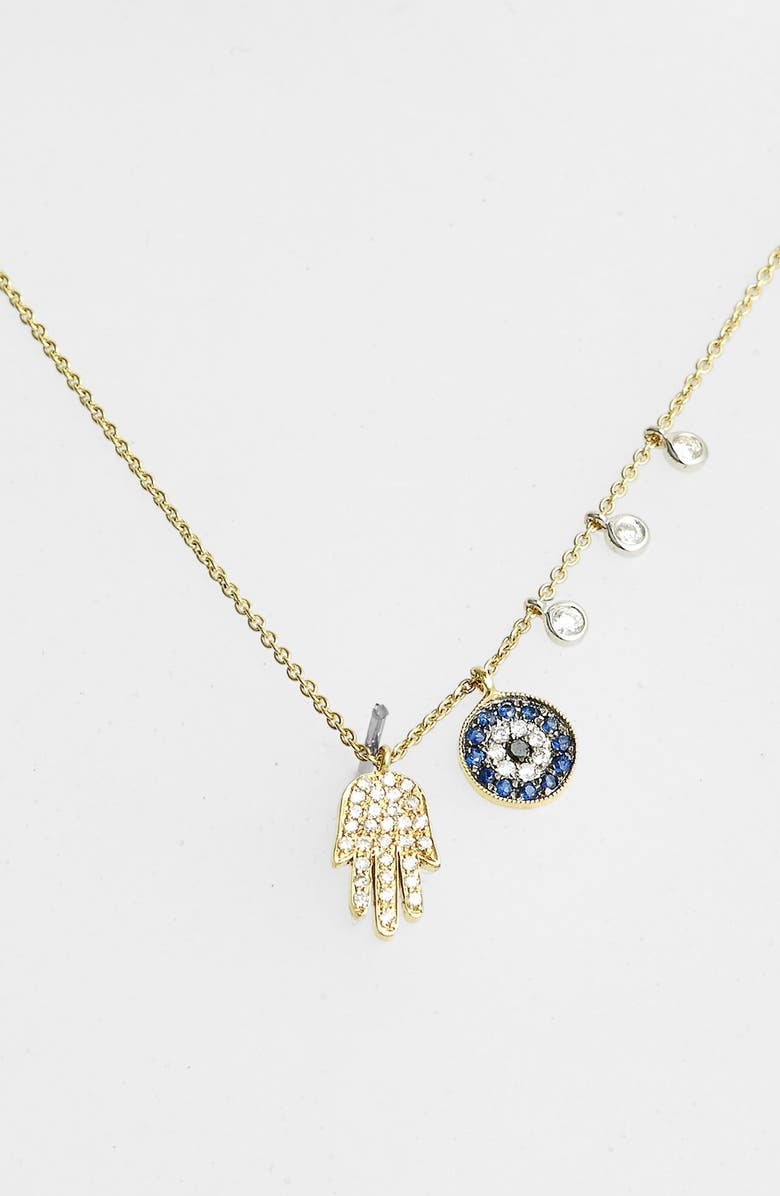 MEIRA T Desert Infusion Diamond & Sapphire Pendant Necklace, Main, color, YELLOW GOLD/ BLUE SAPPHIRE