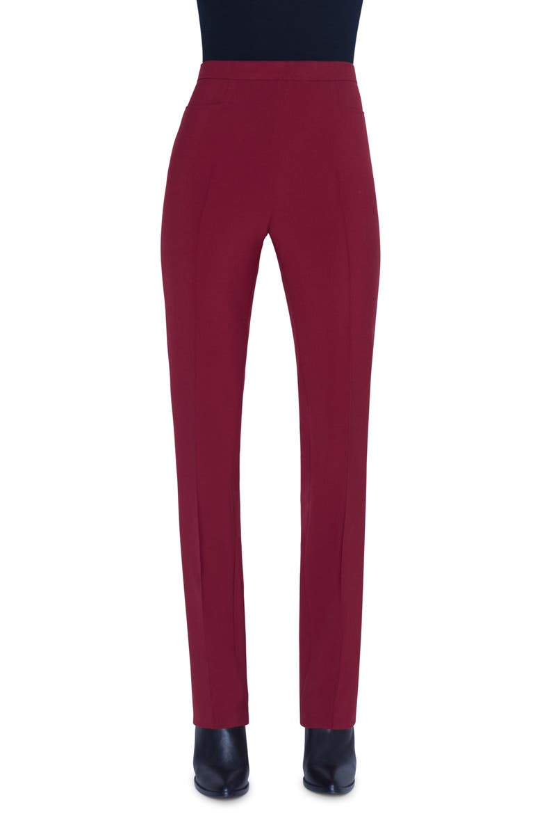 AKRIS PUNTO Francoise Pebble Crepe Jersey Pants, Main, color, RUBY