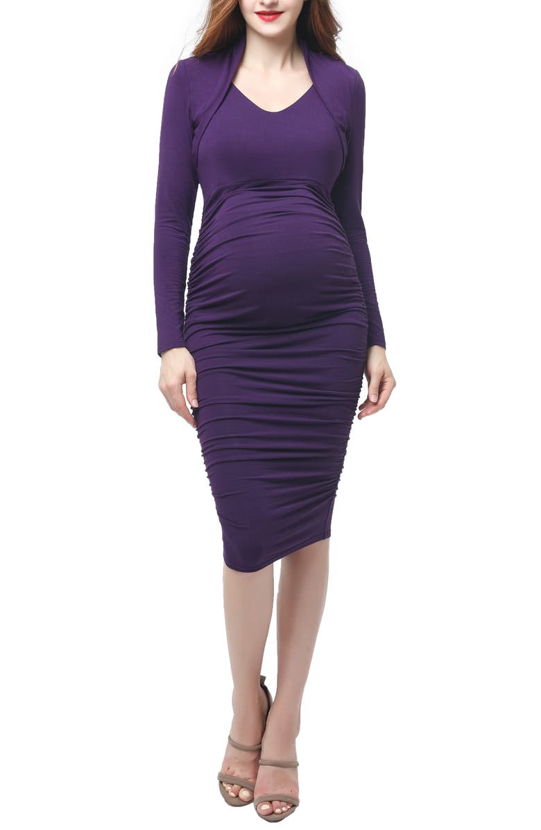 KIMI AND KAI Viola Shawl Collar Maternity Dress, Main, color, EGGPLANT