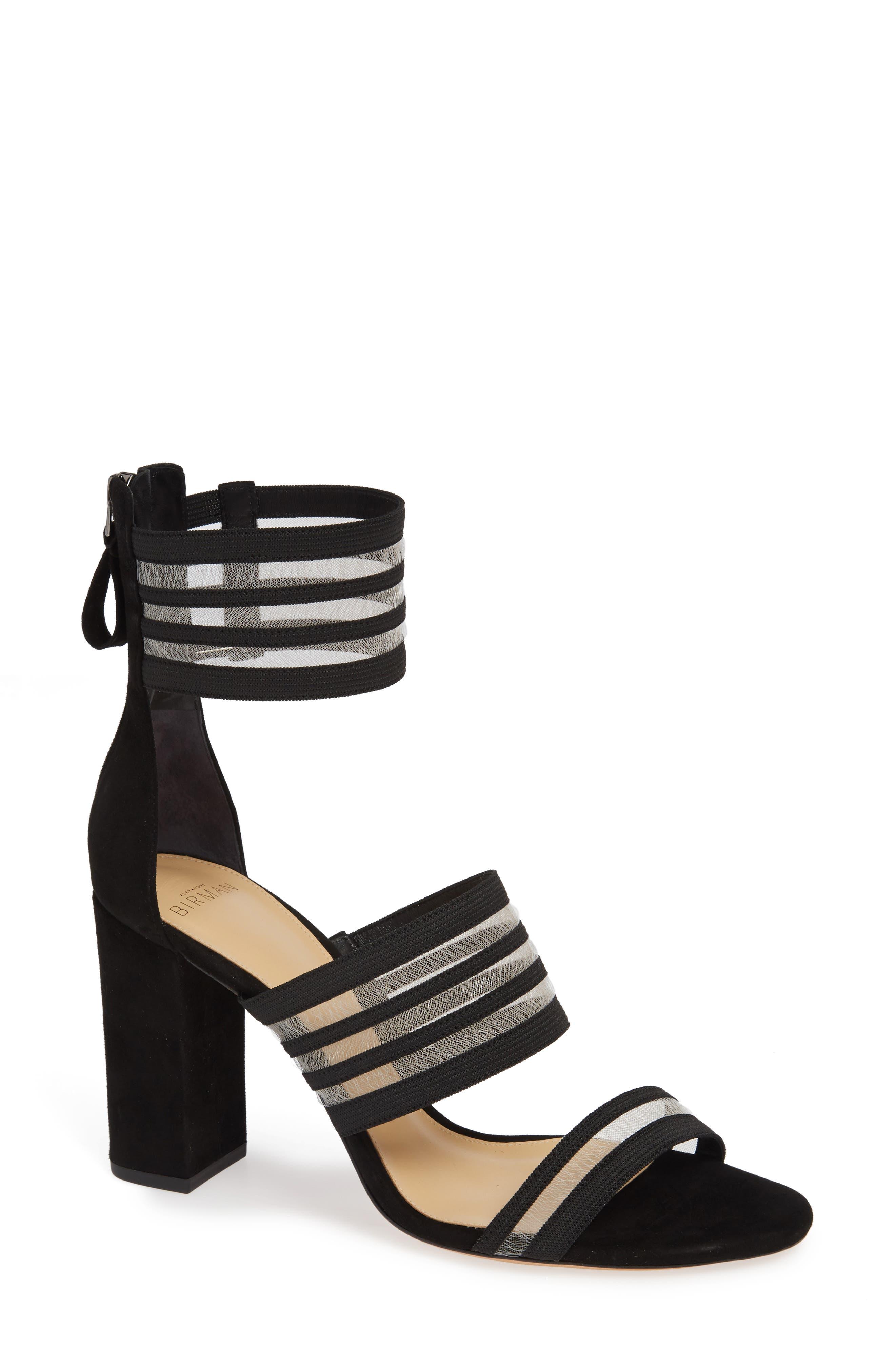 Alexandre Birman Shadow Ankle Strap Sandal, Black