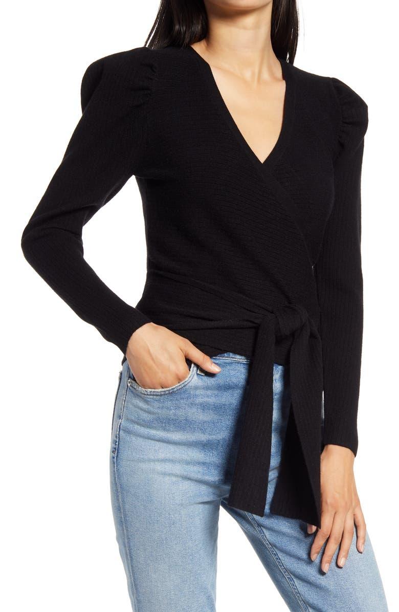 WAYF Pippa Puff Sleeve Wrap Top, Main, color, BLACK
