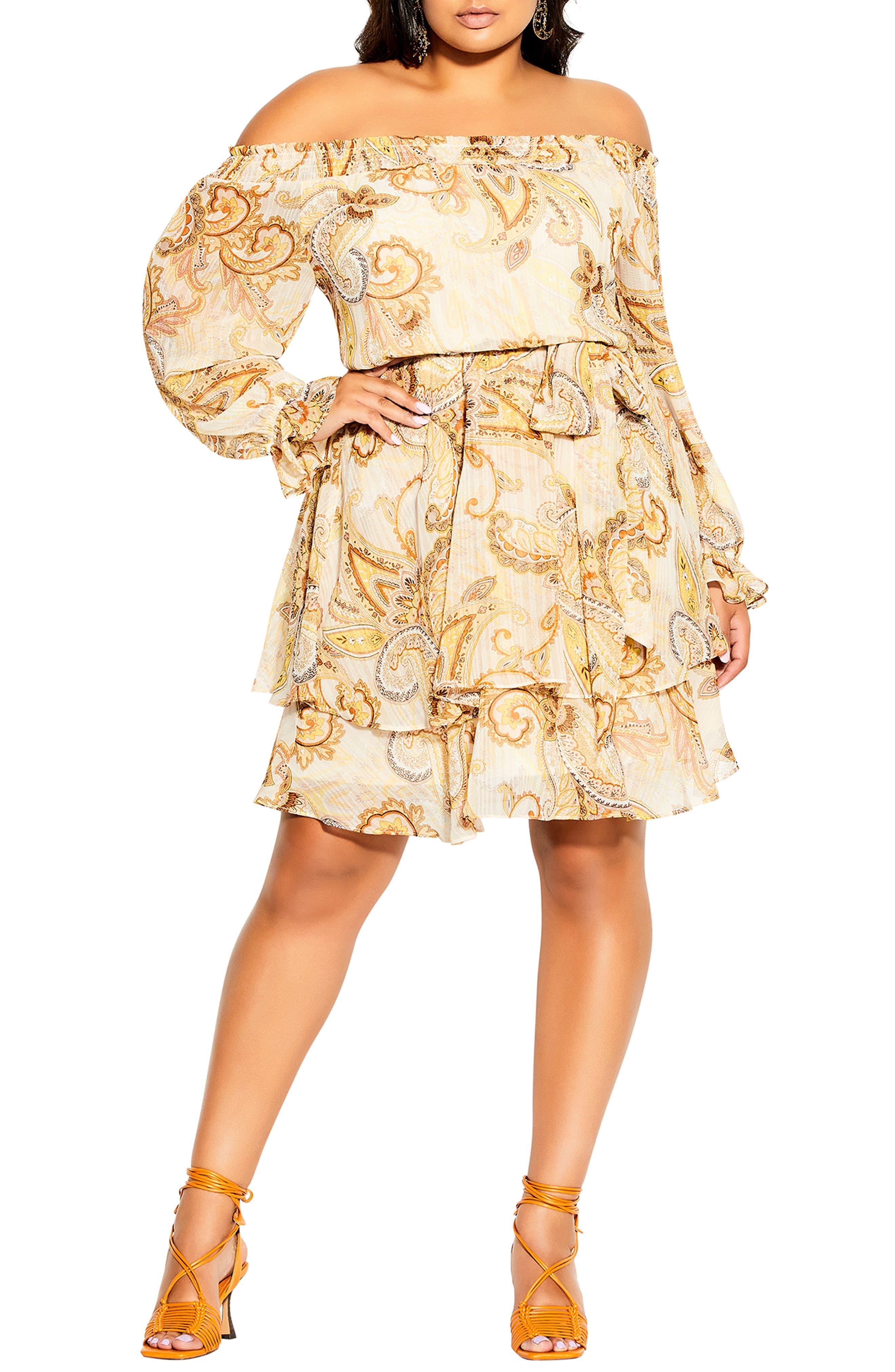Pretty Paisley Off The Shoulder Minidress