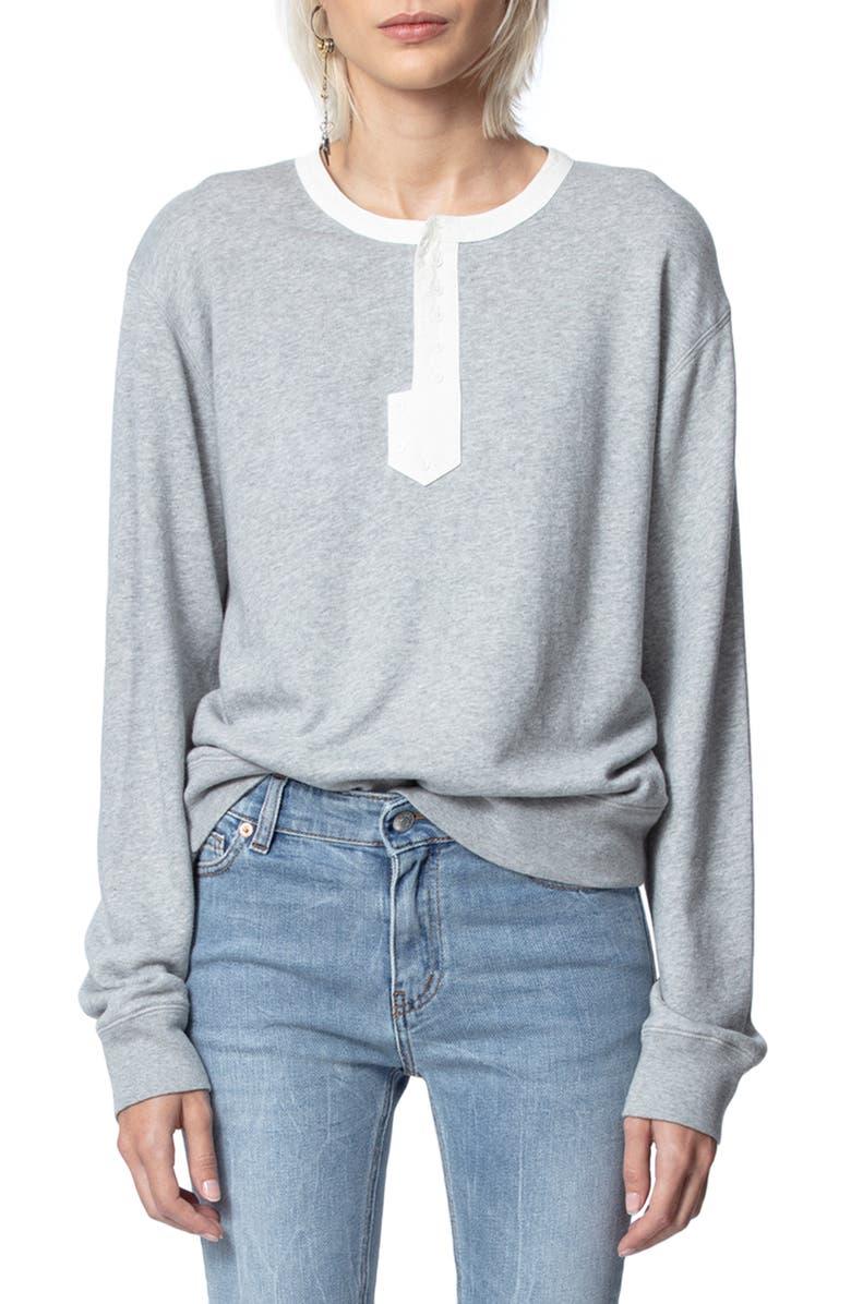 ZADIG & VOLTAIRE Watson Friends Cotton Blend Sweatshirt, Main, color, GRIS CHINE
