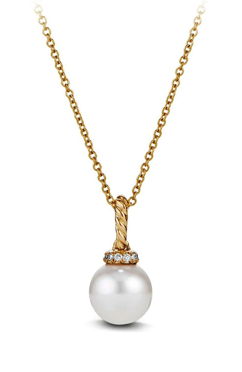 DAVID YURMAN Solari Pendant Necklace with Pearls and Diamonds in 18K Gold, Main, color, PEARL