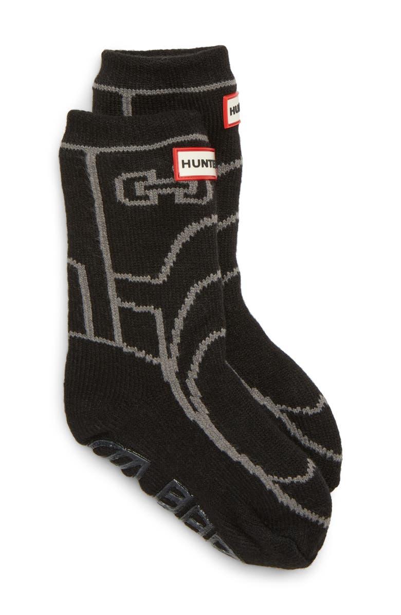 HUNTER Original Boot Slipper Socks, Main, color, BLACK