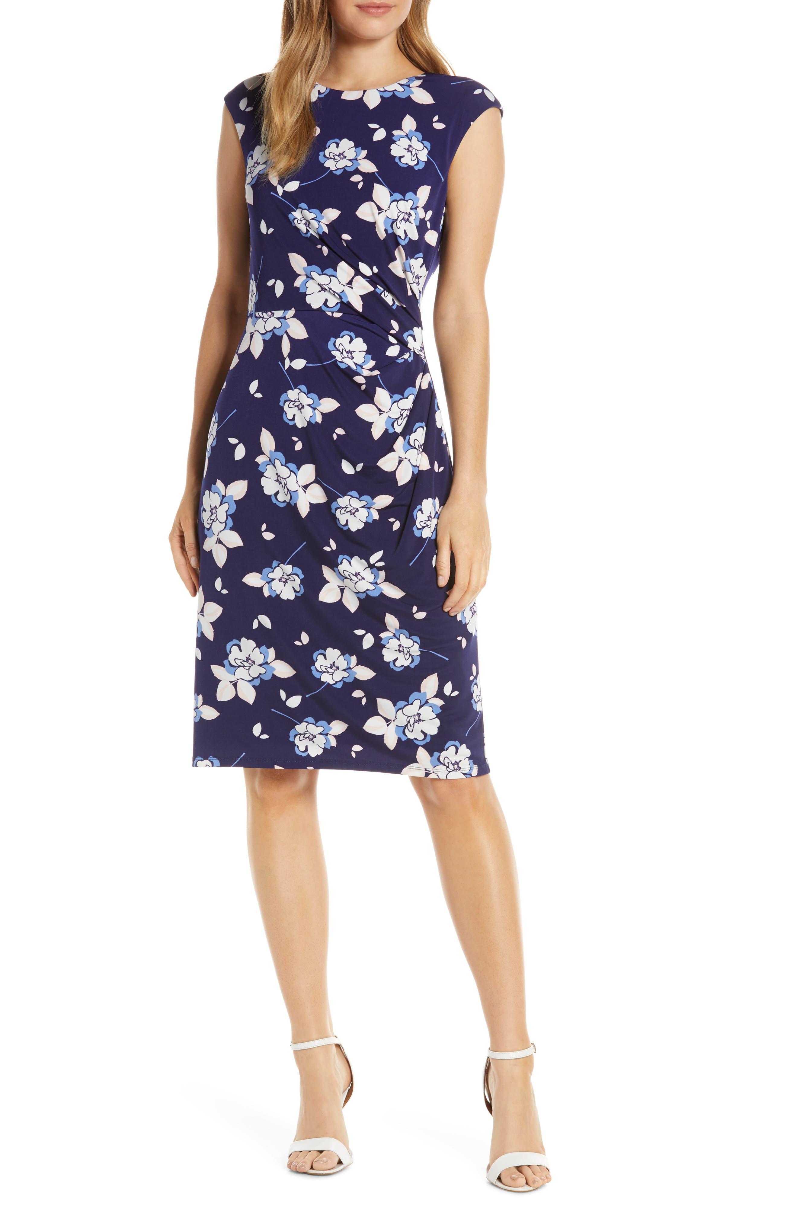 Petite Eliza J Cap Sleeve Ruched Sheath Dress, Blue