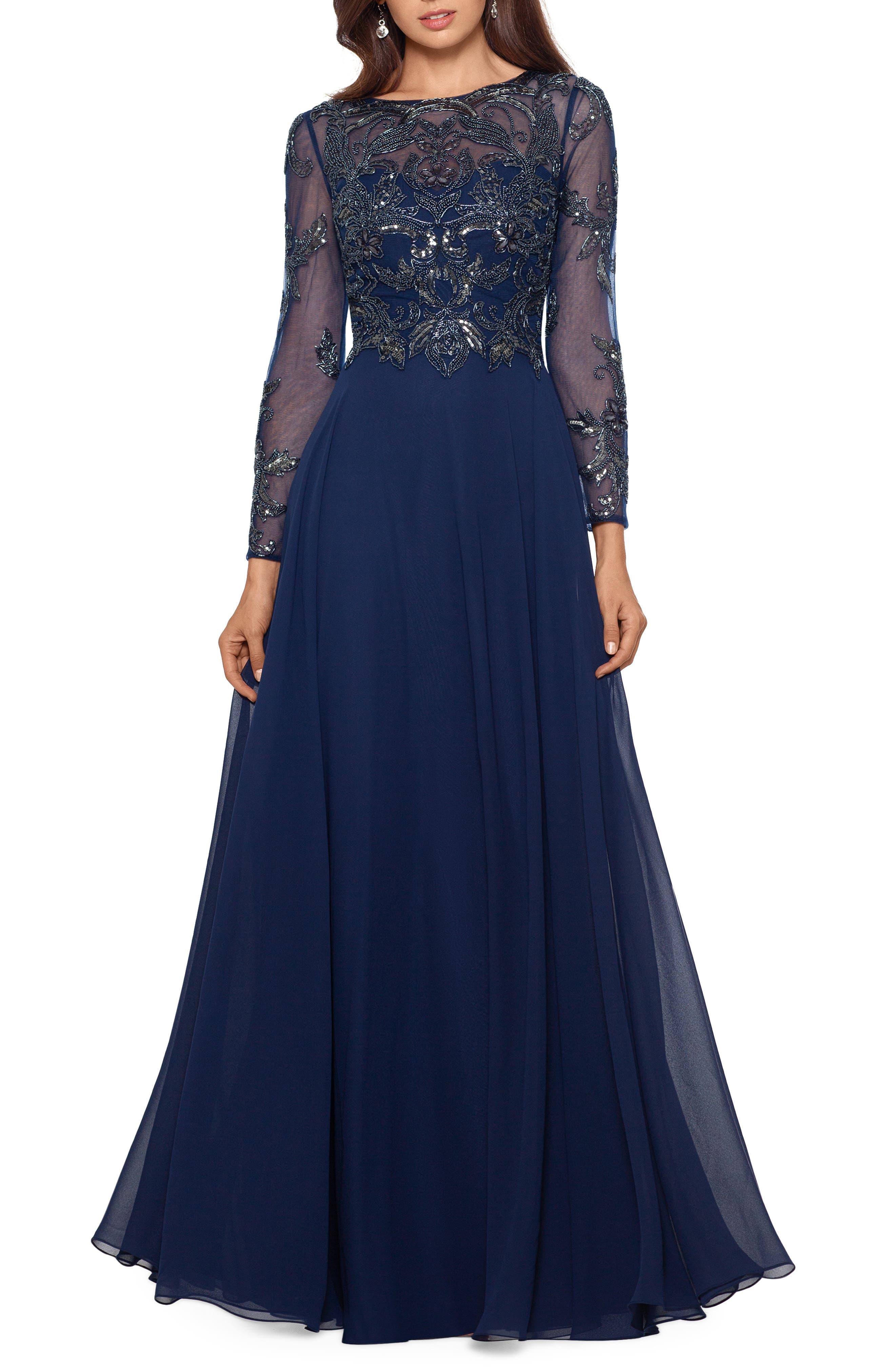 Xscape Long Sleeve Beaded Chiffon Gown