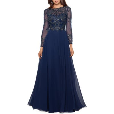 Xscape Long Sleeve Beaded Chiffon Gown, Blue