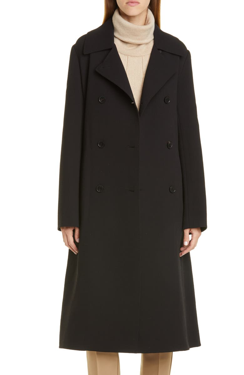 LAFAYETTE 148 NEW YORK Marjorie Wool Trench Coat, Main, color, BLACK