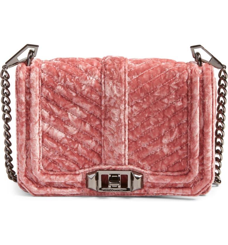 REBECCA MINKOFF Small Love Velvet Crossbody Bag, Main, color, 680