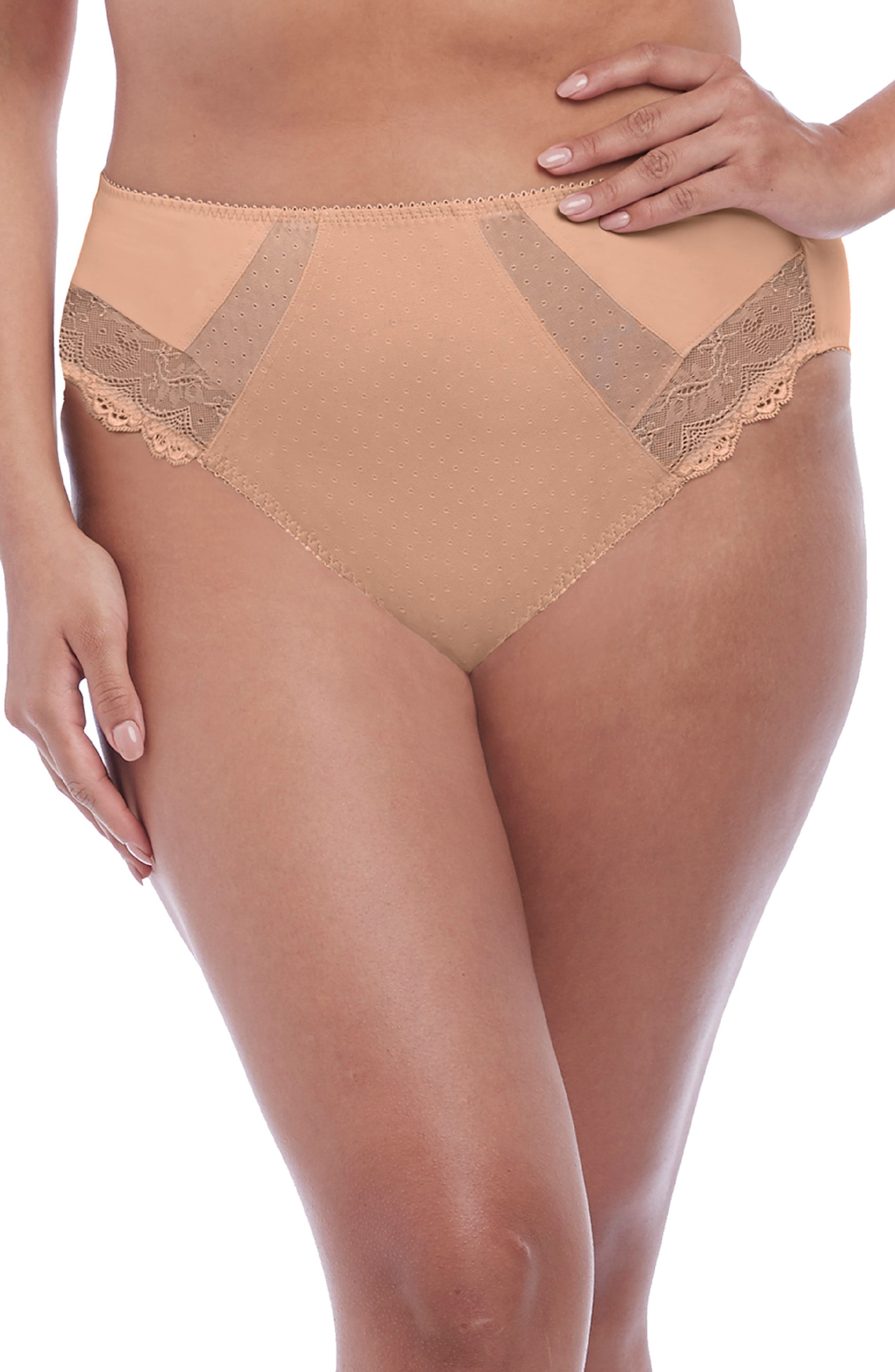 Pretty dots, mesh insets and scalloped lace come together and update the retro influence of these high-rise briefs. Style Name: Elomi Meredith High Leg Briefs (Regular & Plus Size). Style Number: 5996442. Available in stores.