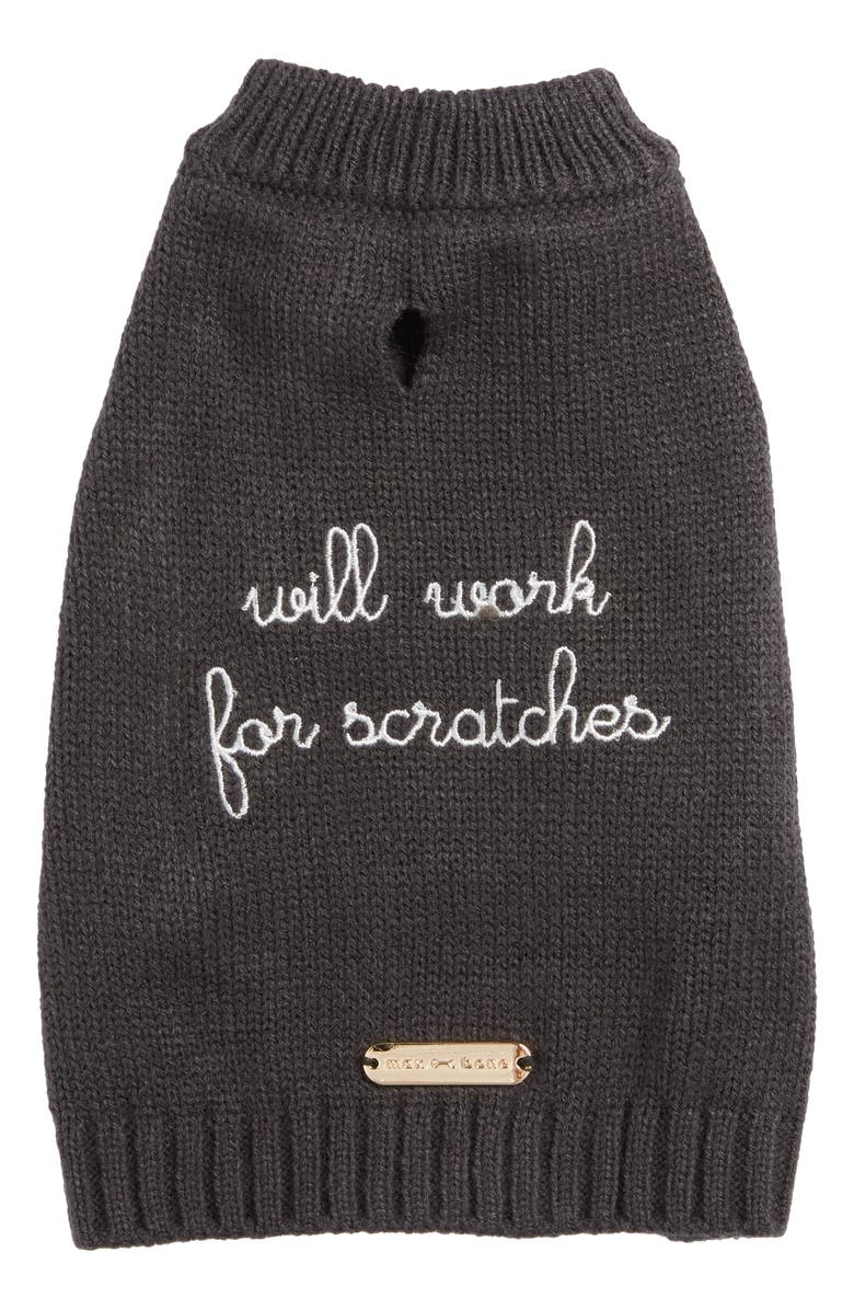 MAX-BONE Will Work For Scratches Dog Sweater, Main, color, CHARCOAL