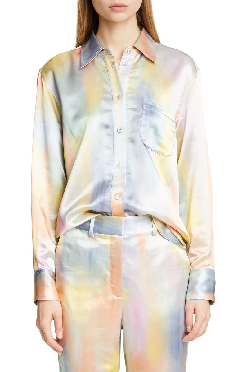 SIES MARJAN Sander Tie Dye Satin Shirt, Main, color, MULTI PRINT
