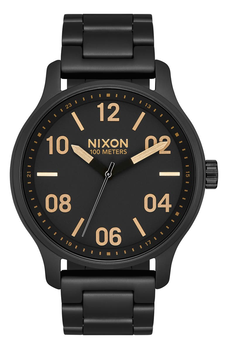 NIXON The Patrol Bracelet Watch, 42mm, Main, color, BLACK/ GOLD/ BLACK
