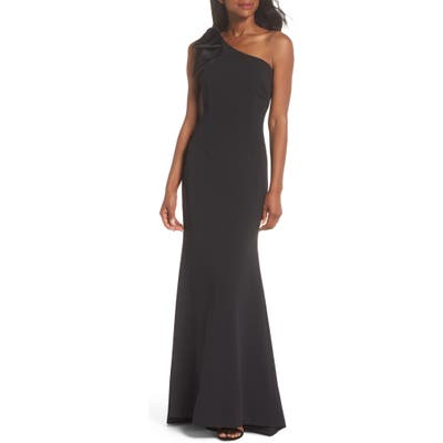 Eliza J One-Shoulder A-Line Gown, Black