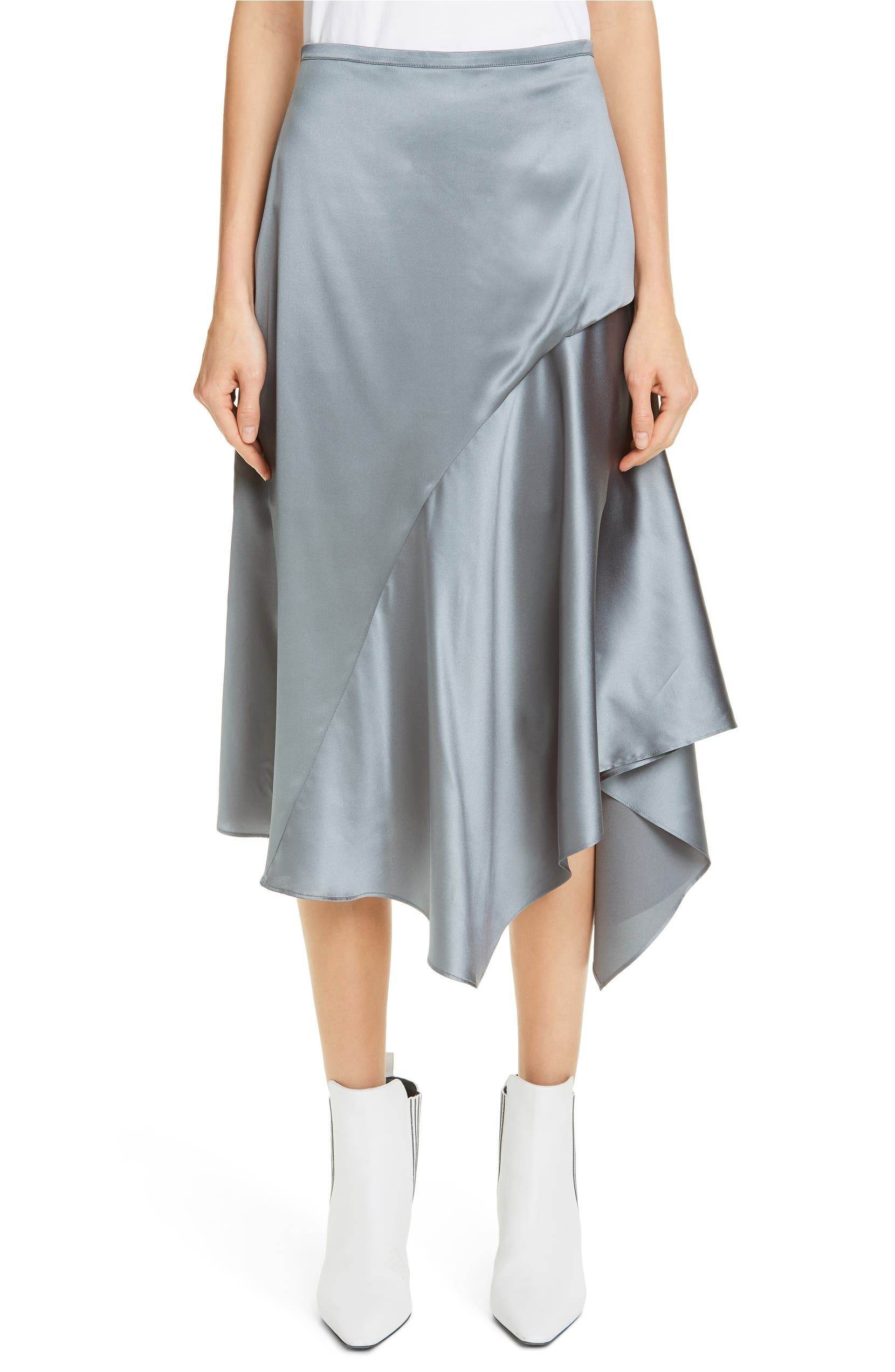 007d2ca3d0 Brunello Cucinelli Stretch Silk Satin Godet Midi Skirt | Nordstrom