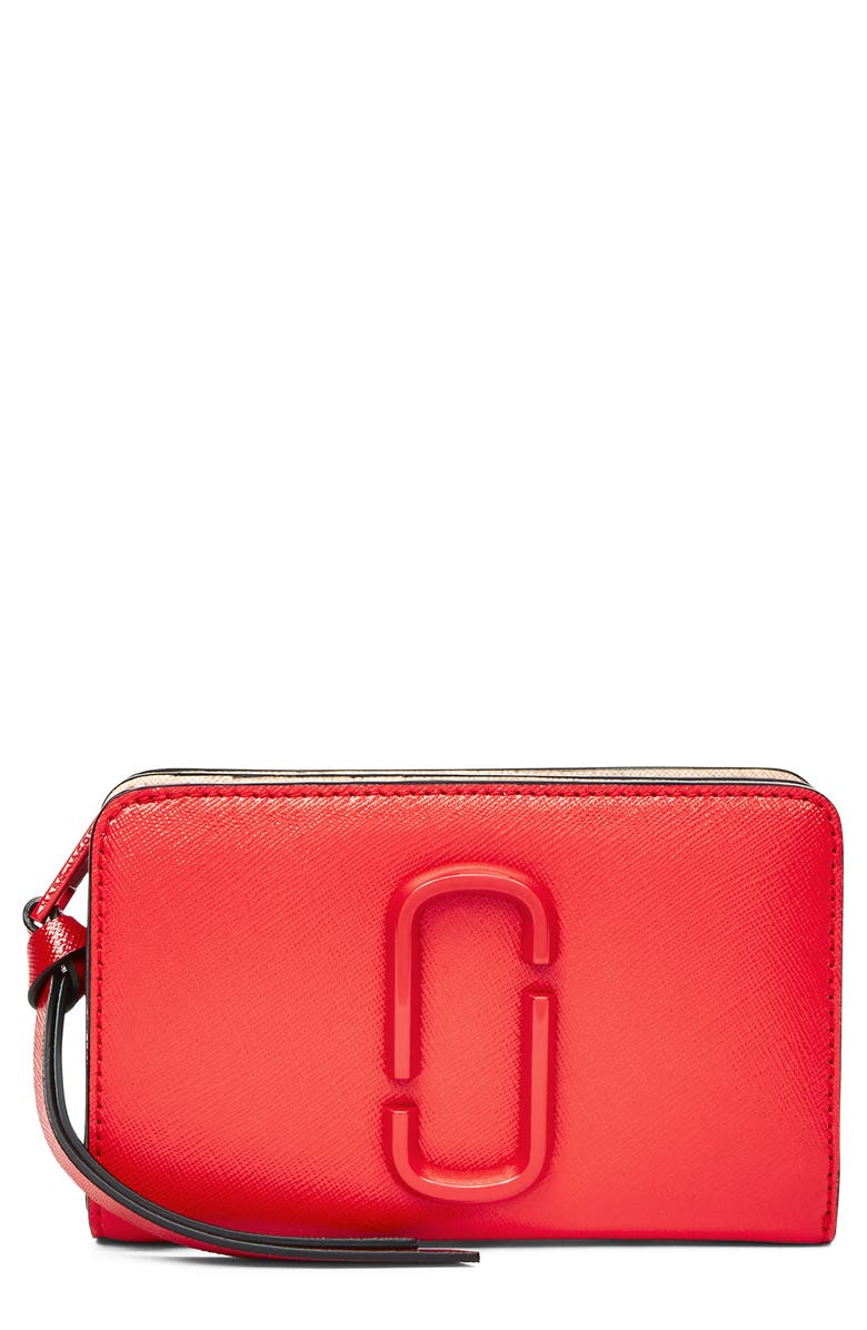 THE MARC JACOBS Snapshot Compact Leather Wallet, Main, color, POPPY RED MULTI