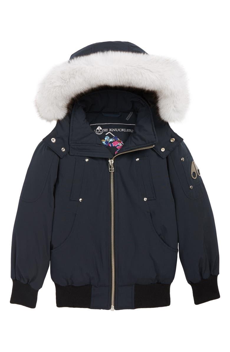 MOOSE KNUCKLES Bomber Jacket with Genuine Fox Fur Trim, Main, color, NAVY