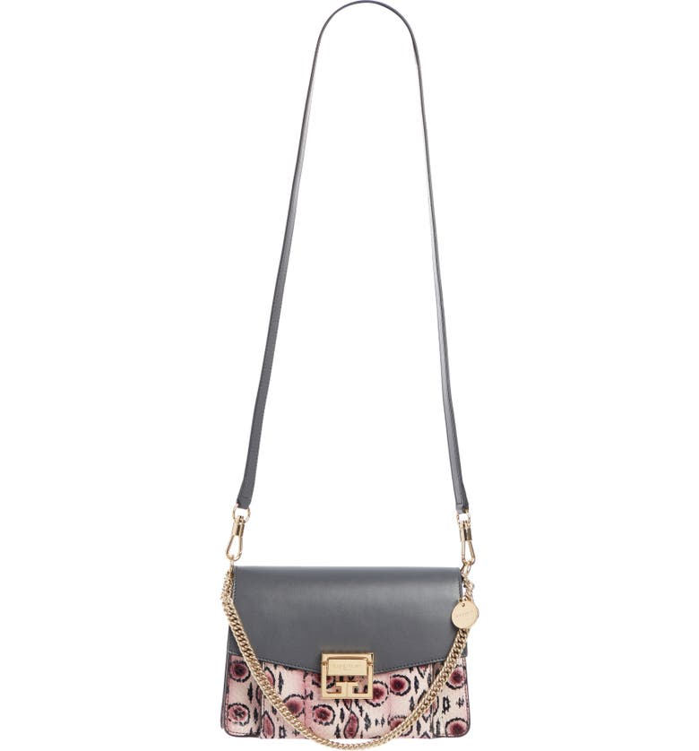 GIVENCHY Small GV3 Leather Crossbody Bag, Main, color, PURPLE