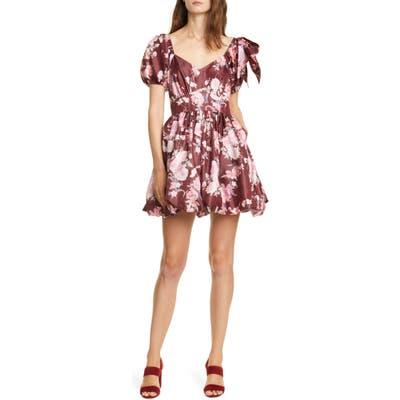 Loveshackfancy Hansel Floral Puff Tie Sleeve Minidress, Burgundy