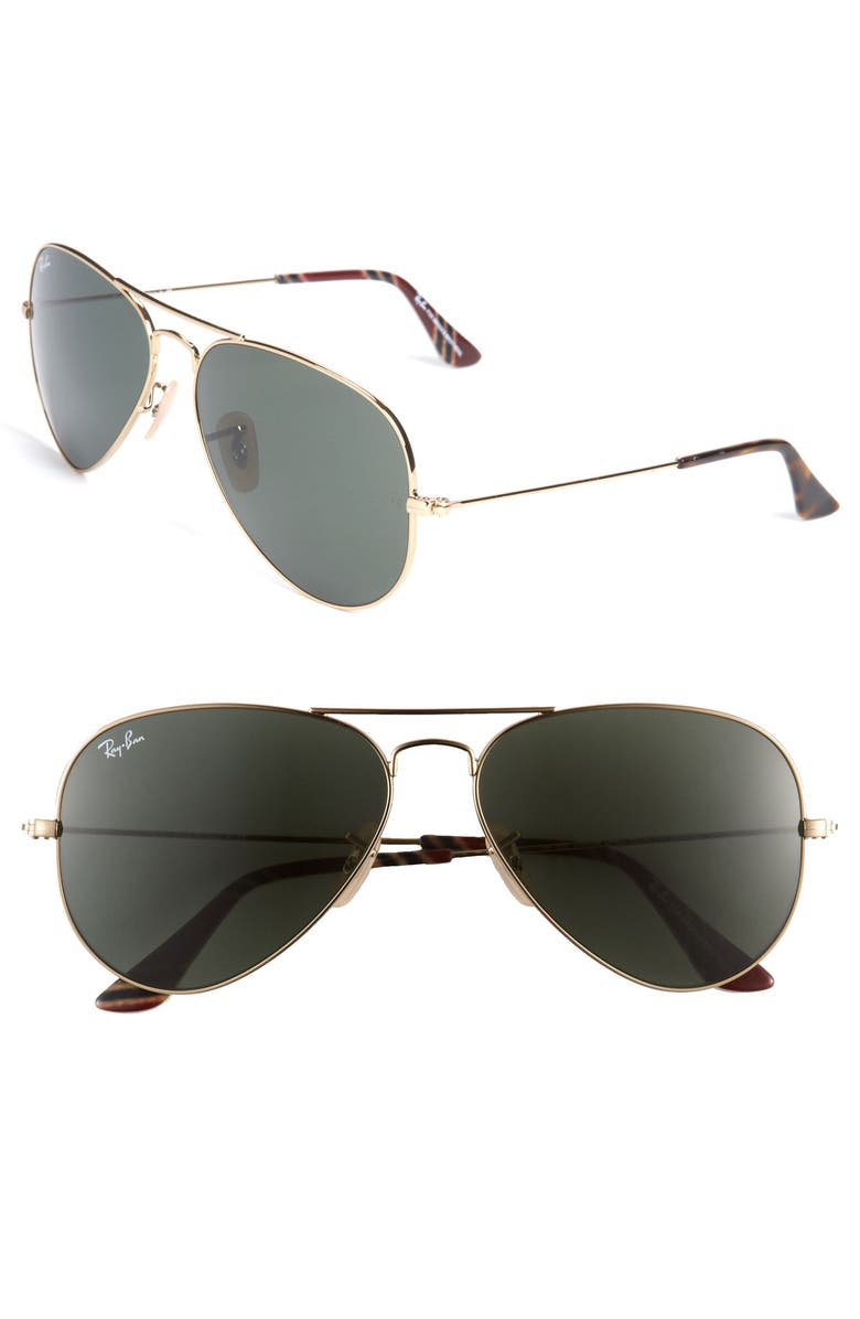 RAY-BAN Original Aviator 58mm Sunglasses, Main, color, 011
