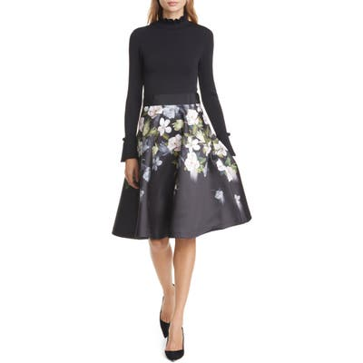 Ted Baker London Nerida Opal Mixed Media Long Sleeve Fit & Flare Dress, (fits like 0-2 US) - Black