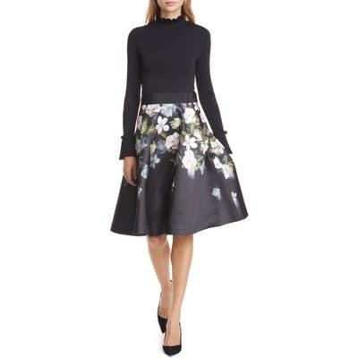 Ted Baker London Nerida Opal Mixed Media Long Sleeve Fit & Flare Dress, Black