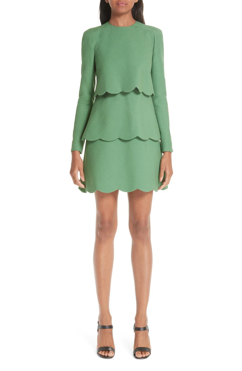 VALENTINO Wool & Silk Tiered Scallop Dress, Main, color, 300