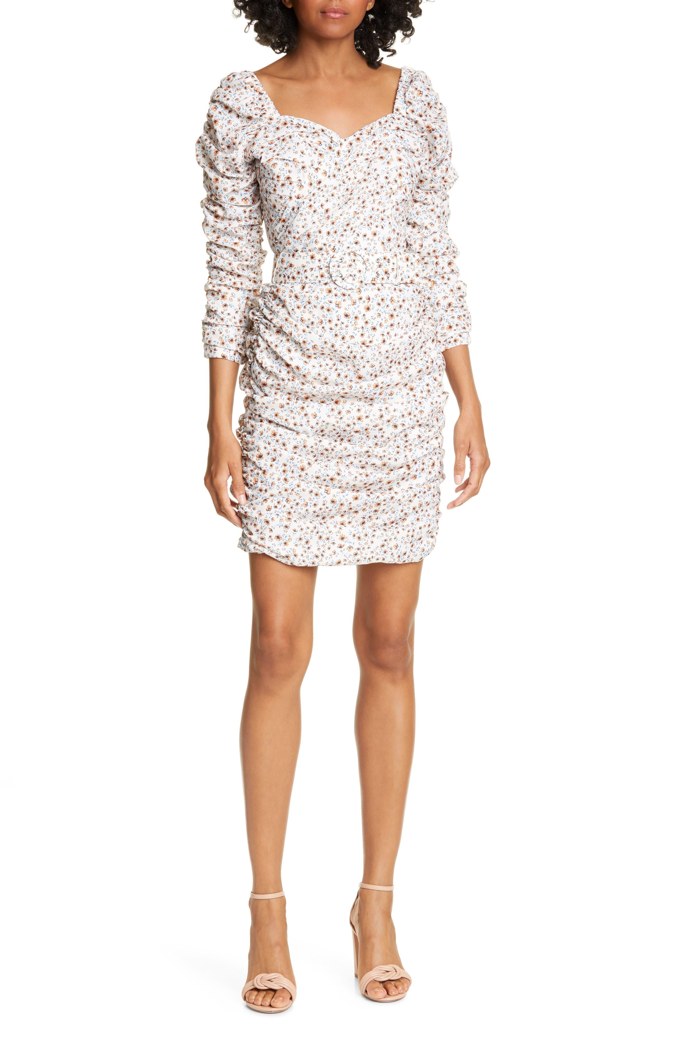 Nicholas Ruched Puff Sleeve Minidress, White