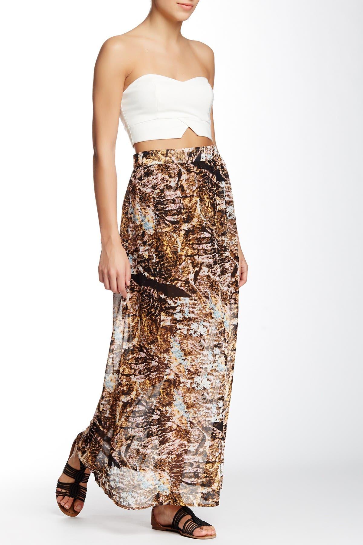Image of Vertigo Printed Long Maxi Skirt