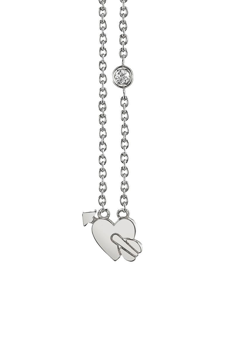 SYD BY SYDNEY EVAN Lovestruck Diamond Emoji Necklace, Main, color, SILVER