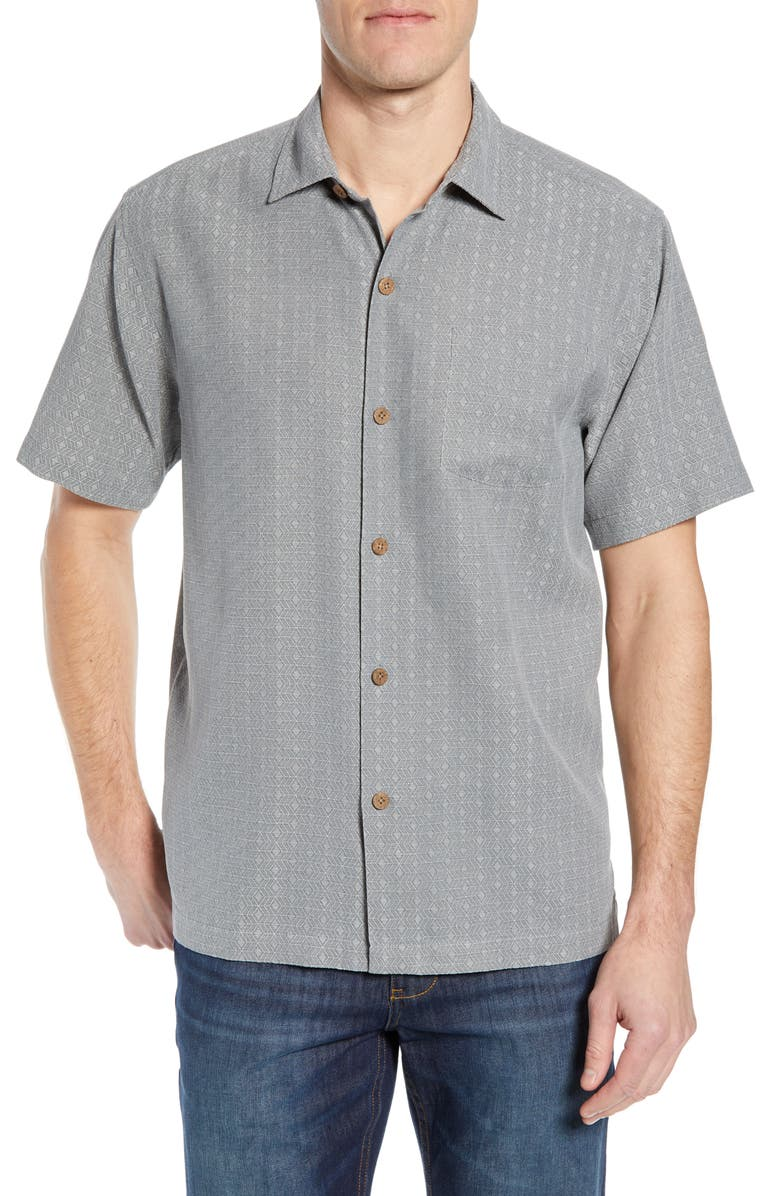 TOMMY BAHAMA Dimensional Diamond Silk Sport Shirt, Main, color, 050