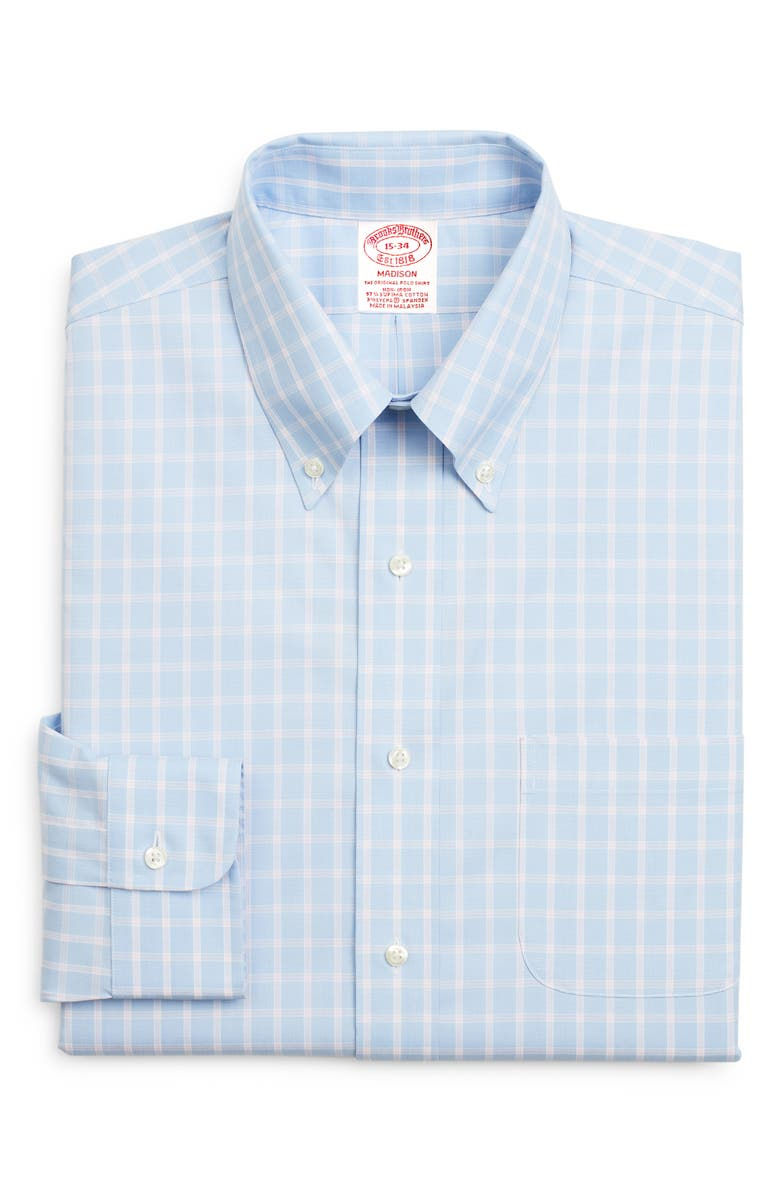BROOKS BROTHERS Madison Classic Fit Stretch Plaid Dress Shirt, Main, color, BLUE