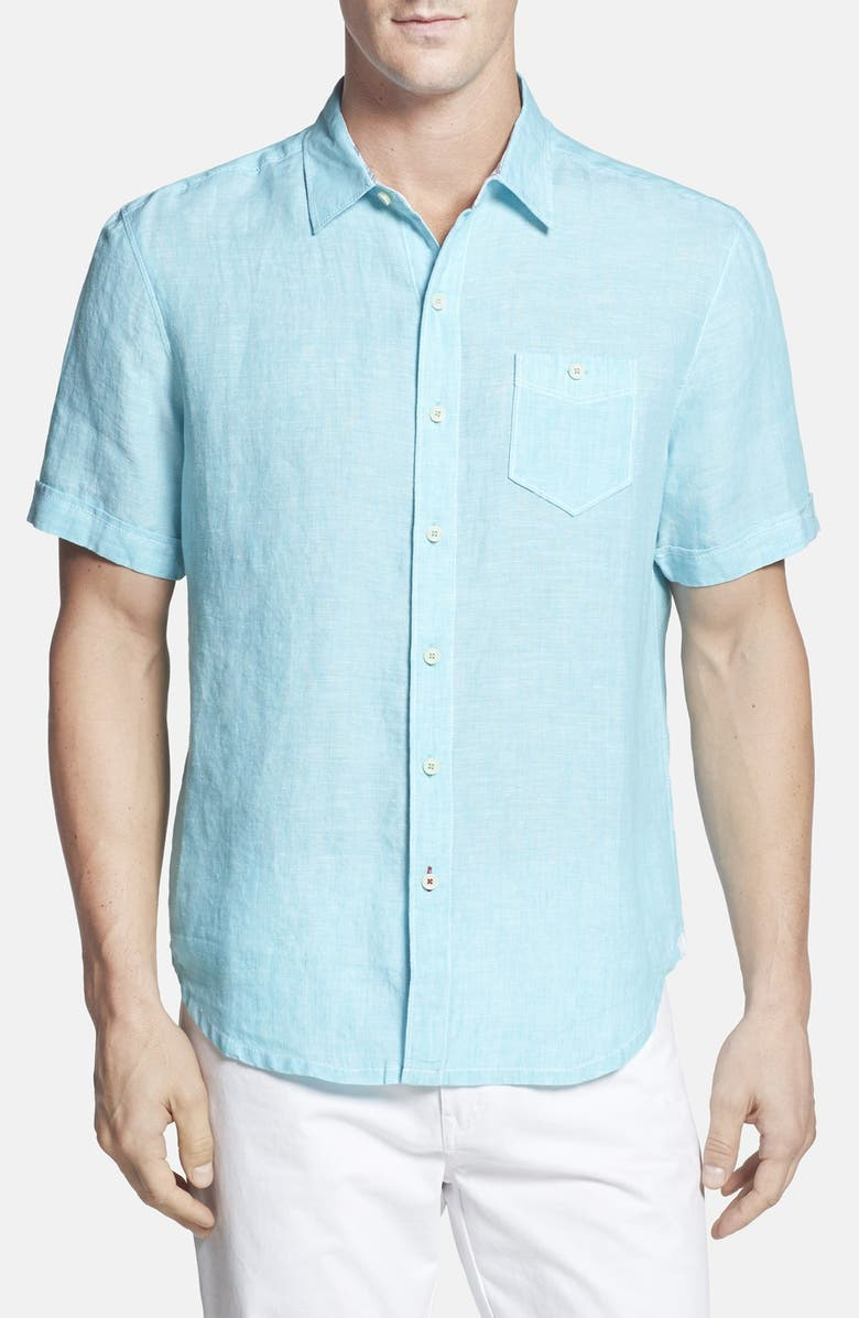 2f55af437 'Party Breezer' Island Modern Fit Short Sleeve Linen Sport Shirt, Main,  color '