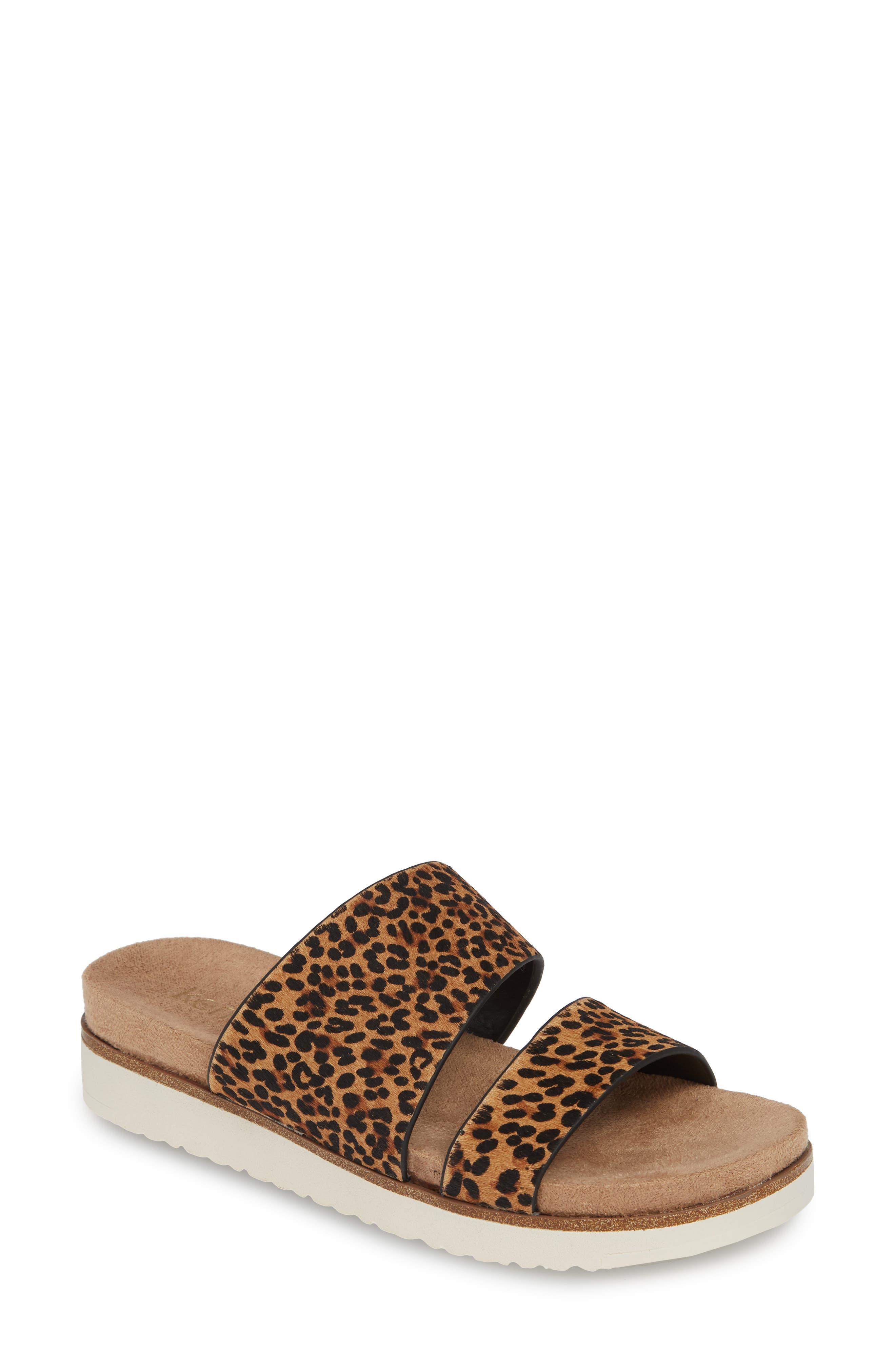,                             Danesha Genuine Calf Hair Slide Sandal,                             Main thumbnail 1, color,                             LEOPARD PRINT CALF HAIR