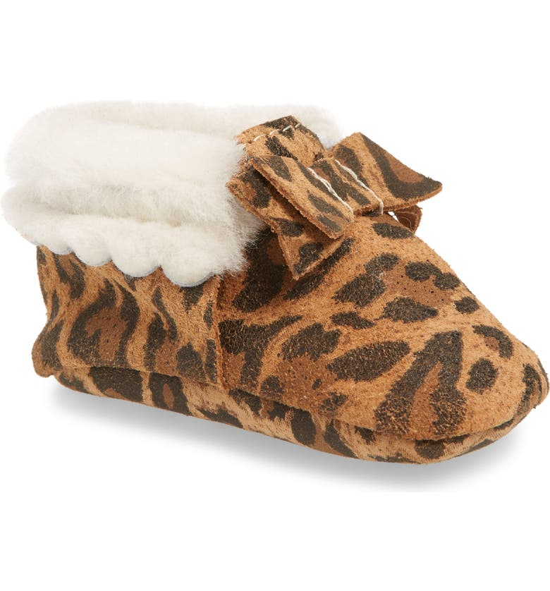 FRESHLY PICKED Genuine Shearling Lined Bow Moccasin, Main, color, LEOPARD SHEARLING BOW