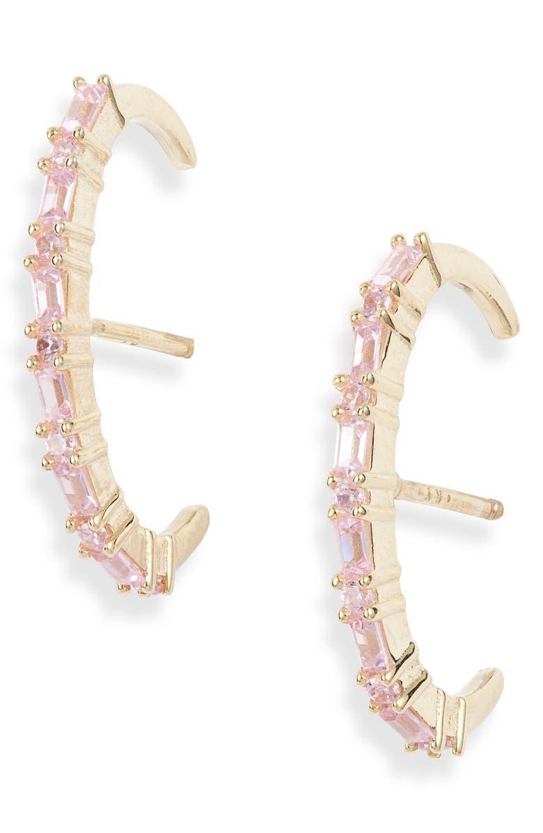 ADINA'S JEWELS Adina's Jewels Baguette Stud Earrings, Main, color, 650