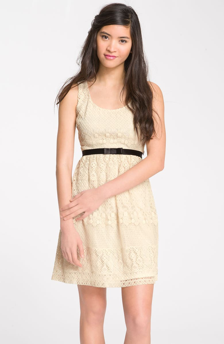 WAY-IN Bow Belt Lace Tank Dress, Main, color, 250