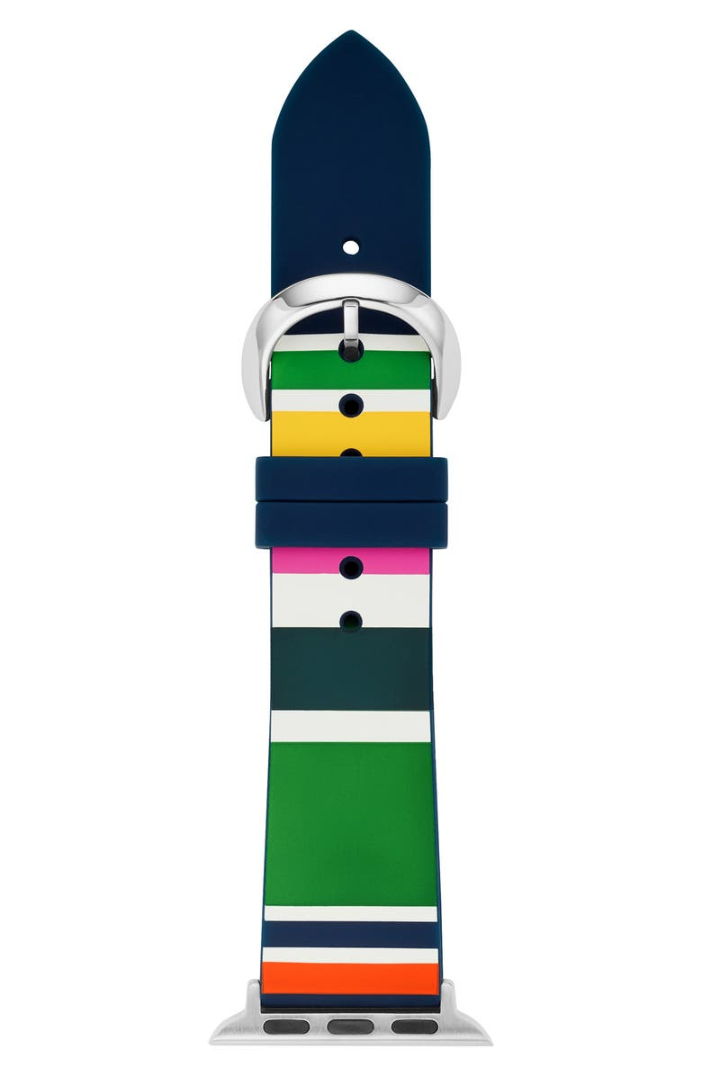 KATE SPADE NEW YORK Apple Watch strap, 38mm, Main, color, PINK/ WHITE/ GREEN