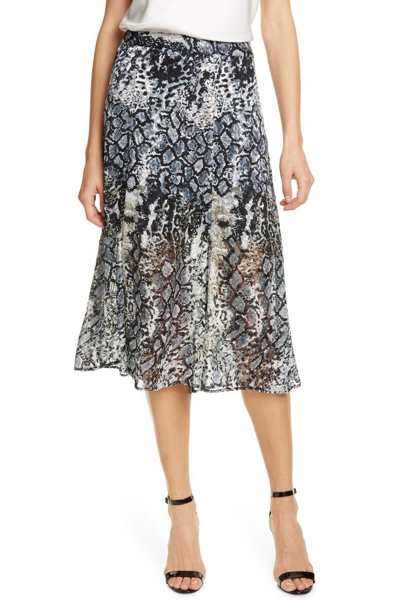 ALICE + OLIVIA Athena Snake Print Double Slit Skirt, Main, color, BLACK/ MULTI