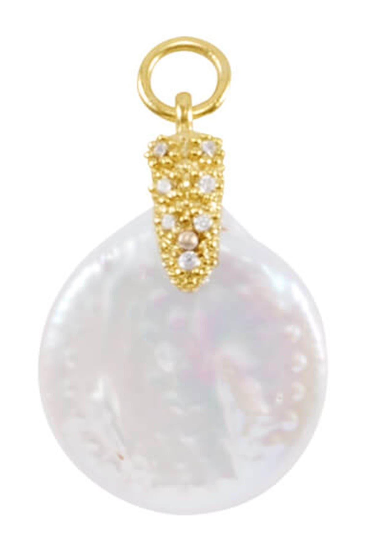 Image of Kendra Scott Cultured 7mm Pearl Open Cuff Charm Bracelet